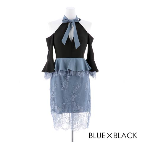 [SMLサイズ]オープンショルダーペプラムタイトミニドレス[3サイズ展開](ブルー×ブラック-Sサイズ)