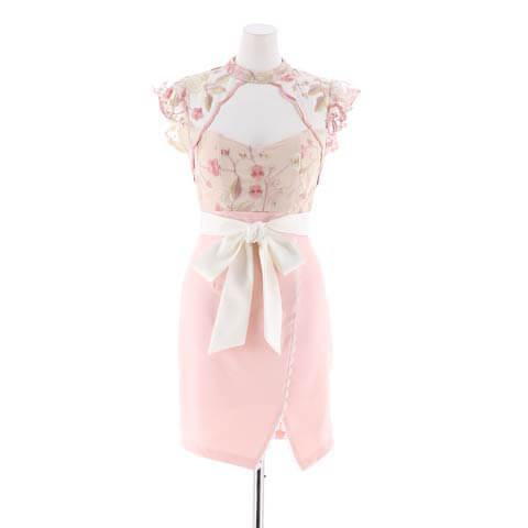明日花キララ着用[SMLサイズ]花柄刺繍レースタイトミニドレス[3サイズ展開](ホワイト×ピンク-Sサイズ)