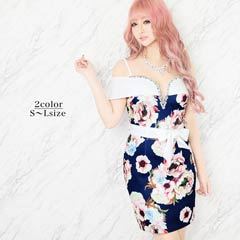 [SMLサイズ]花柄オフショルタイトミニドレス[3サイズ展開]