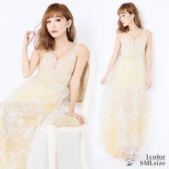[SMLサイズ]フラワー刺繍入りシフォンタイトロングドレス[3サイズ展開]