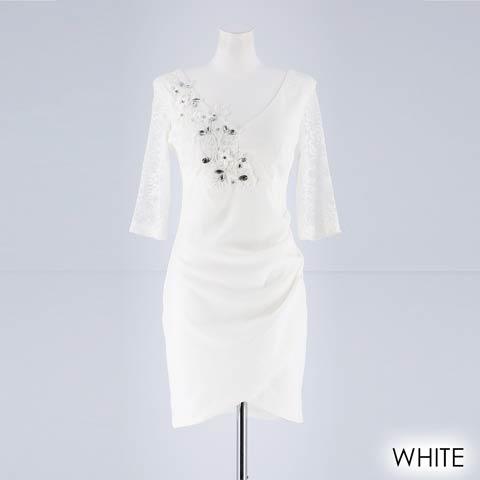 [S~LLサイズ]シンプルエンブロイダリータイトミニドレス[4サイズ展開](ホワイト-S)