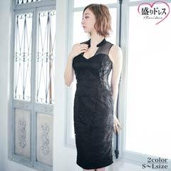 【盛りドレス】[SMLサイズ]フラワーモチーフ付き総レースタイト膝丈ドレス[3サイズ展開]