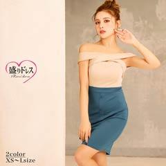 【盛りドレス】[XS~Lサイズ]バイカラークロスデザインオフショルタイトミニドレス[4サイズ展開]