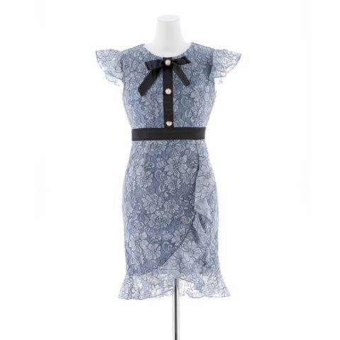 明日花キララ着用[XS~Lサイズ]リボン付きブルーレースタイトミニドレス[4サイズ展開](ブルーXブラック-XSサイズ)