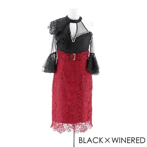 [SMLサイズ]シアータイトミニドレス[3サイズ展開](ブラック×ワインレッド-Sサイズ)