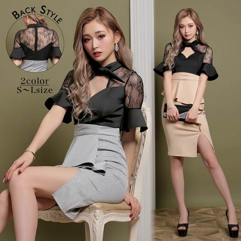 [SMLサイズ]ボウタイリボン袖付きレースタイトミニドレス[3サイズ展開]