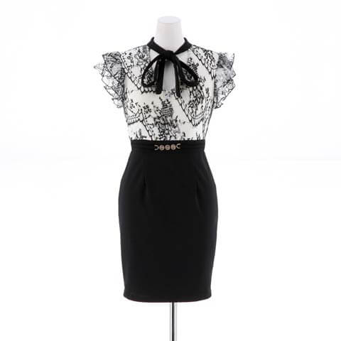[SMLサイズ]ハイネックボウタイリボンタイトミニドレス[3サイズ展開](ホワイト×ブラック-Sサイズ)