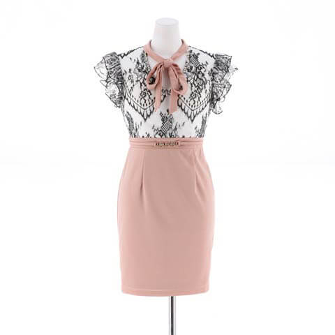 [SMLサイズ]ハイネックボウタイリボンタイトミニドレス[3サイズ展開](ホワイト×ピンク-Sサイズ)