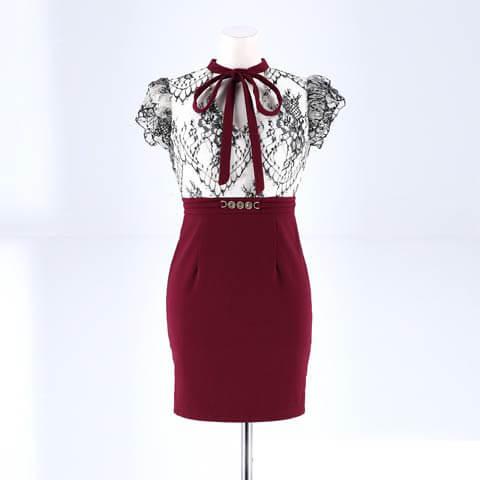 [SMLサイズ]ハイネックボウタイリボンタイトミニドレス[3サイズ展開](ホワイト×ワインレッド-Sサイズ)