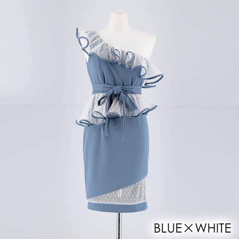 [SMLサイズ]ドットチュールフリルワンショルダータイトミニドレス[3サイズ展開](ブルー×ホワイト-Sサイズ)