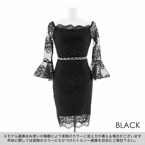 [フリーサイズ]オフショルシースルーレースタイトミニドレス(ブラック-フリー)