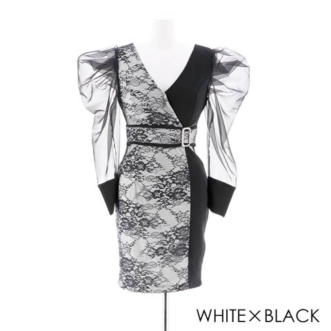 [SMLサイズ]長袖シアータイトミニドレス[3サイズ展開](ホワイト×ブラック-Sサイズ)