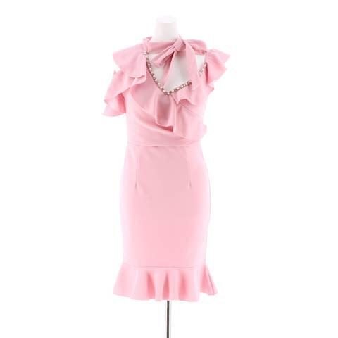 [SMLサイズ]チョーカー風リボン付きマーメイドタイトミニドレス[3サイズ展開](ピンク-S)