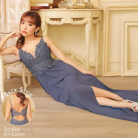 1/25UP[SMLサイズ]豪華刺繍レースキャミAラインロングドレス[3サイズ展開]