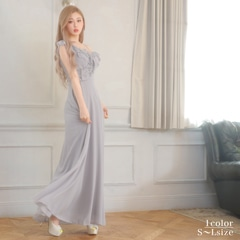 2/19UP[SMLサイズ]アイシーワンカラーフリルAラインロングドレス[3サイズ展開]
