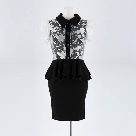 [SMLサイズ]シルエットフラワーペプラムタイトミニドレス[3サイズ展開](ブラックXホワイト-Sサイズ)