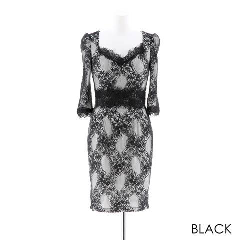 [SMLサイズ]ペンタゴンネック総レースタイトミニドレス[3サイズ展開](ブラック-Sサイズ)
