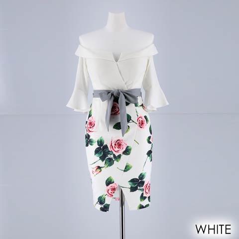[SMLサイズ]リアルローズ柄袖付きタイトミニドレス[3サイズ展開](ホワイト-Sサイズ)