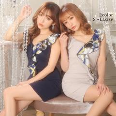 12/11UP[SMLサイズ]スカーフ柄フリルタイトミニドレス[3サイズ展開]