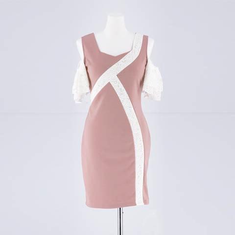 [SMLサイズ]袖フリルオープンショルダータイトミニドレス[3サイズ展開](ピンク×ホワイト-Sサイズ)
