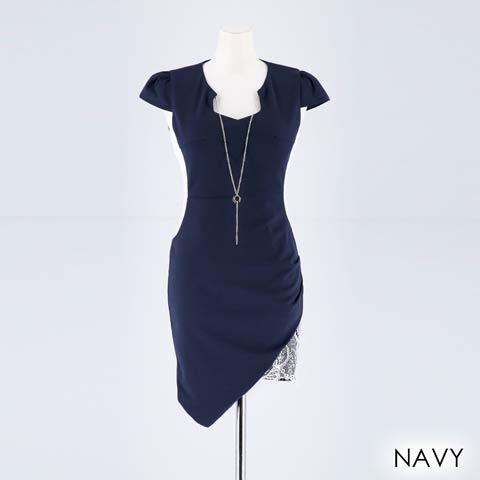 [SMLサイズ]サイドシアーネックレス付きタイトミニドレス[3サイズ展開](ネイビー-Sサイズ)