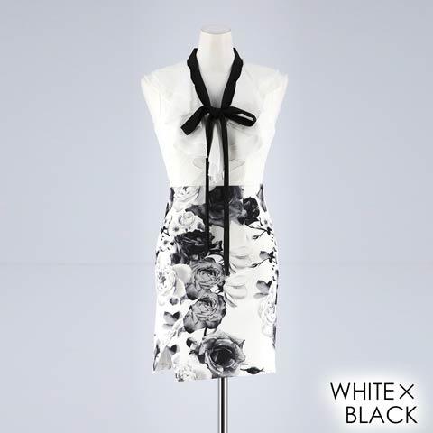 [XS~Lサイズ]リボンタイ付きフリルxローズ柄プリントタイトミニドレス[4サイズ展開](ホワイトXブラック-XSサイズ)