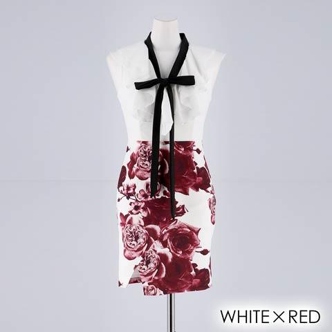 [XS~Lサイズ]リボンタイ付きフリルxローズ柄プリントタイトミニドレス[4サイズ展開](ホワイトXレッド-XSサイズ)