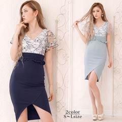 [SMLサイズ]シアーフラワーレースタイト膝丈ドレス[3サイズ展開]