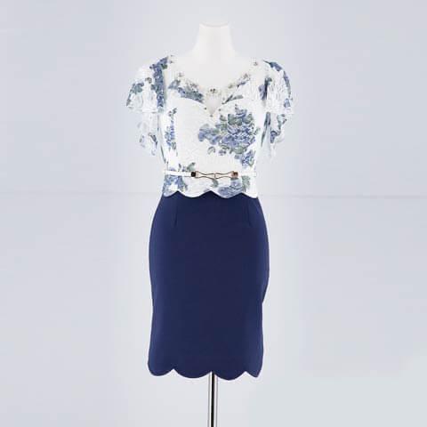 [S~LLサイズ]フラワーレーススカラップタイトミニドレス[4サイズ展開](ホワイト×ネイビー-S)