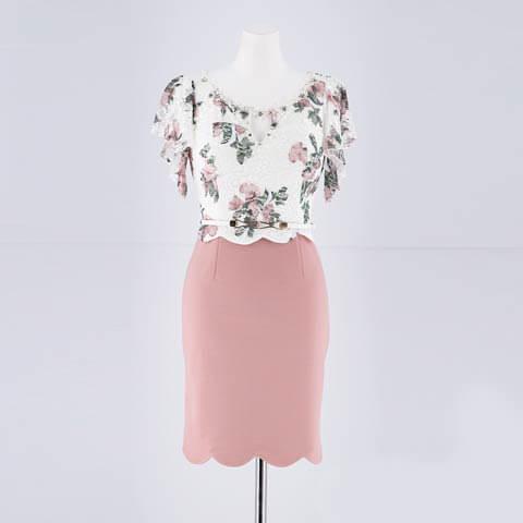 [S~LLサイズ]フラワーレーススカラップタイトミニドレス[4サイズ展開](ホワイト×ピンク-S)