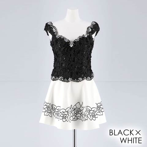 [2ピース][SMLサイズ]ゴージャスビジューフラワーAラインミニドレス[3サイズ展開](ブラック×ホワイト-Sサイズ)