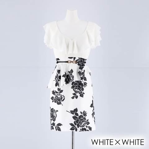 [SMLサイズ]ローズ柄ペプラムタイトミニドレス[3サイズ展開](ホワイト×ホワイト-S)