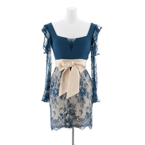 [SMLサイズ]スクエアネックシアーレーススリーブタイトミニドレス[3サイズ展開](グリーンブルーxベージュ-Sサイズ)
