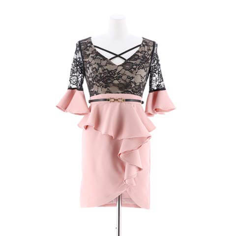 [SMLサイズ]フリルペプラムベルスリーブタイトミニドレス[3サイズ展開](ピンク-Sサイズ)