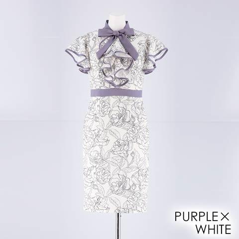 [SMLサイズ]フラワーフリルリボンタイトミニドレス[3サイズ展開](パープル×ホワイト-Sサイズ)