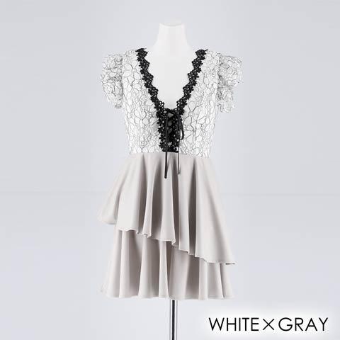 [SMLサイズ]フリルシルエットAラインミニドレス[3サイズ展開](ホワイト×グレー-Sサイズ)