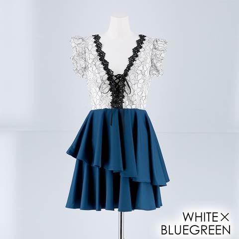 [SMLサイズ]フリルシルエットAラインミニドレス[3サイズ展開](ホワイト×ブルーグリーン-Sサイズ)