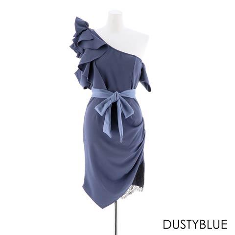 [SMLサイズ]バイカラーフリルワンショルダータイトミニドレス[3サイズ展開](ダスティーブルー-Sサイズ)