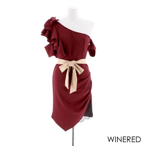 [SMLサイズ]バイカラーフリルワンショルダータイトミニドレス[3サイズ展開](ワインレッド-Sサイズ)