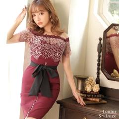[SMLサイズ]オフショル贅沢刺繍レースタイトミニドレス[3サイズ展開]