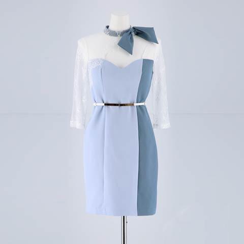 [SMLサイズ]ネックリボン付きシアーレースタイトミニドレス[3サイズ展開](ホワイトXペールブルー-Sサイズ)