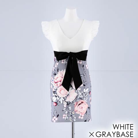 [SMLサイズ]フラワー柄フリルスリーブタイトミニドレス[3サイズ展開](ホワイトXグレーベース-Sサイズ)