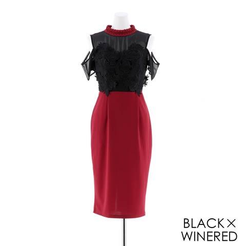 [SMLサイズ]シアーダークローズ刺繍膝丈ドレス[3サイズ展開](ブラックXワインレッド-Sサイズ)