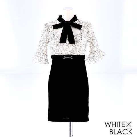 明日花キララ着用[SMLサイズ]ネックリボンラインフラワーレースタイトミニドレス[3サイズ展開](ホワイトXブラック-Sサイズ)