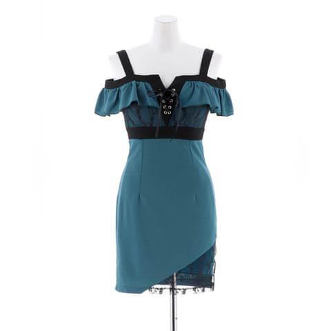 [SMLサイズ]バスト魅せ編み上げレースタイトミニドレス[3サイズ展開](ブルーグリーン-Sサイズ)