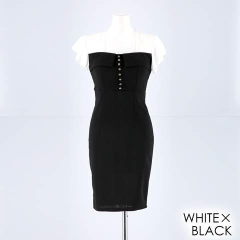 明日花キララ着用[SMLサイズ]モノトーンボタン付きタイトミニドレス[3サイズ展開](ホワイトXブラック-Sサイズ)