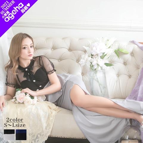 [SMLサイズ]リボン付きロマンチックタイトロングドレス[3サイズ展開]