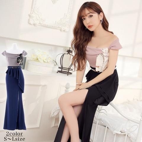[SMLサイズ]スカーフモチーフペプラムタイトロングドレス[3サイズ展開]