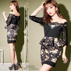 [XS~LLサイズ]袖付きオフショルflowerタイトミニドレス[5サイズ展開]