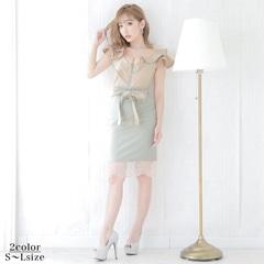 [SMLサイズ]リボンベルト付きタイトミニドレス[3サイズ展開]